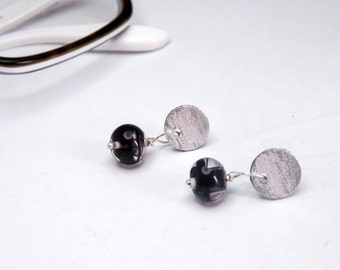 little stud earring with handblown black glass beads