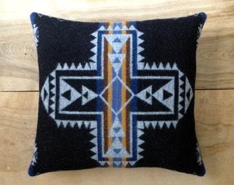 SALE Wool Cross Pillow - Native Geometric Tribal Arrow Southwest Bohemian