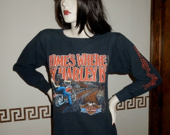 Harley Davidson T shirt 1985 Home's Where My Harley Is Vintage Long Sleeve Thermal Pull Over Shirt Suburban Motors Advertising on Back