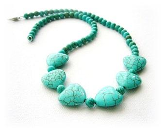 Gemstone Necklace - Turquoise Necklace - Turquoise Beads Necklace - Blue Necklace - Hearts Necklace