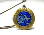 Cloud Necklace Locket Hand Painted - Wearable Art Jewelry