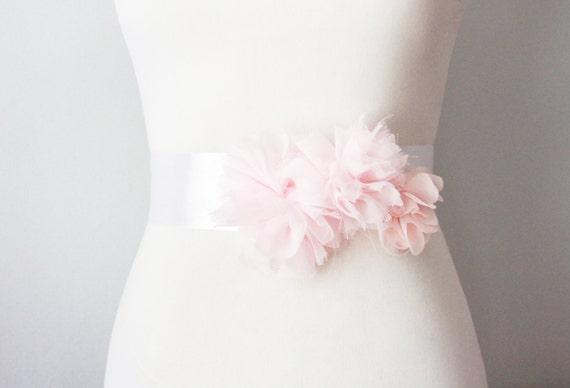 Pink Wedding Dress Sash : Items similar to bridal pink chiffon flower sash posh