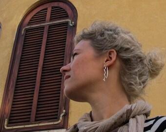 Gorgeous Wave Dangling Earrings. Modern Earrings w/h little spiral. Long Sterling Silver Earrings. Elegant Jewelry. Everyday Earrings Unique