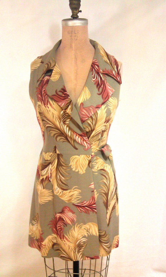 RESERVED LISTING - 1990s Feather Pattern Wrap Dress by A.B.S Size 8