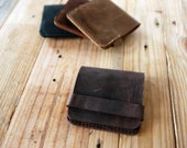 Simple wallet. Dark brown leather wallet for men. Space for credit cards and bills. Mens wallets. Slim wallet. WALL002