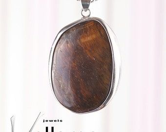 Large tiger eye pendant in heavy sterling silver, 55mm x 35mm, dark brown tigers eye gemstone, golden flashy stone pendant