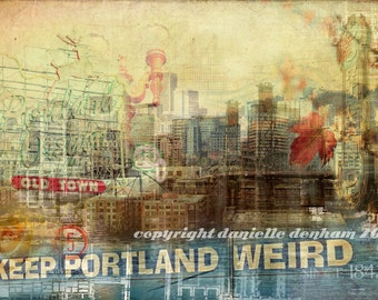 Portland Oregon Art Photo Collage--Fine Art Photography 16x24