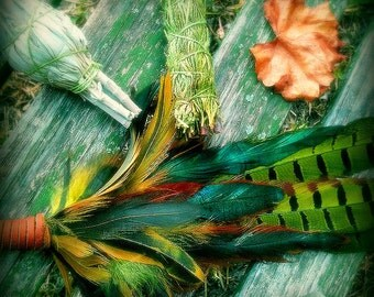 Smudge Fan-Pheasant-Hen Pay with PayPal get a free spell in the box! -Blue-Green-Yellow -Cruelty free feathers henna dyed