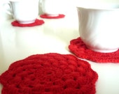 Coasters set of 6, crochet, red