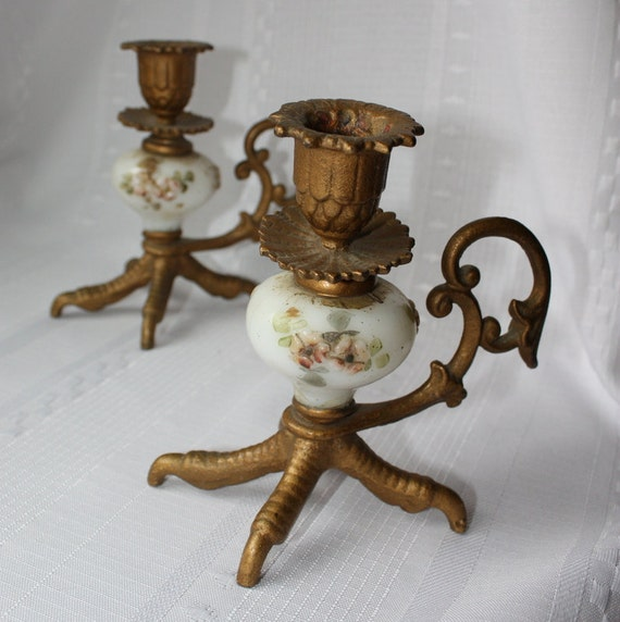 Victorian Metal Bird Foot Candle Holders With Hand Painted
