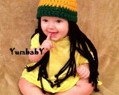 Baby Hats Rasta hat Photo Props Toddler Costume, Beanie Wig, Yellow Green Rasta, Baby Rasta Dreads, Black Dreadlocks, Baby Wig