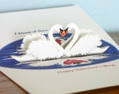 Popup Swans Card Reflect on Special Moments 3D swan card