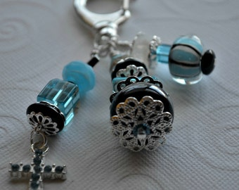 Blue and Black Decorative Clip with Cross Charm