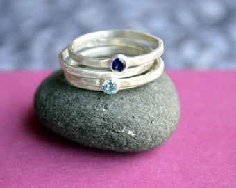 Stacking Birthstone Ring Set in Hammered Sterling Silver with Four Stackers