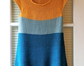 Made to Order: Saffron and Sapphire Hand Knitted Color Block Bamboo Silk Summer Tunic Sweater with I-Cord Rope Neckline Detaill - AmyLaRoux