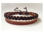 Brown Braid leather bracelet man, Leather Wrist Band Wristband Handcrafted Jewelry