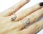2 Finger Ring, Snake Ring, CZ Stones, Gold Plated Adjustable Snake Ring