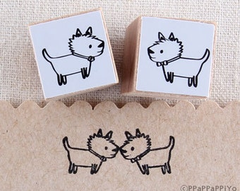 couple dog stamp Rubber Stamp set