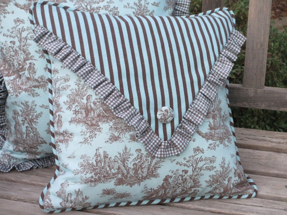 French Country Pillow Cover Aqua Toile Pillow Envelope Style