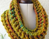 CROCHET Cowl PATTERN, Mustard Cowl, Chunky Scarf, Fast Gift DIY Craft Easy, Circle Scarf Instant Download Lyubava Crochet Pattern Pdf No.69