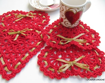 Crochet Heart PATTERN, Crochet Heart Coasters With Ribbon, Valentine Day Gift Crochet Home Decor DIY, Instant Download PDF Pattern No.39