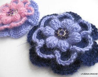 Crochet PATTERN Flower Brooch-Crochet Flower Brooch Pattern-Big Flower Brooch-Crochet Tutorial-Instant Download Pdf Digital Pattern No.81