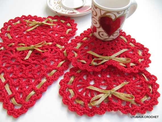 Crochet Heart PATTERN-Crochet Heart Coasters With Ribbon-Valentine Day Gift-Crochet Home Decor-DIY Crafts-Instant Download PDF Pattern No.39