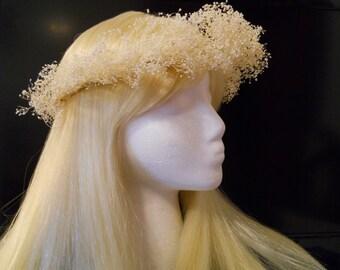 Flower Crown, Head Wreath, Real Babies Breath, White Beige, Weddings, Bridal, Flower Girl Hair Piece Natural Tiara Woodland Dried Flowers