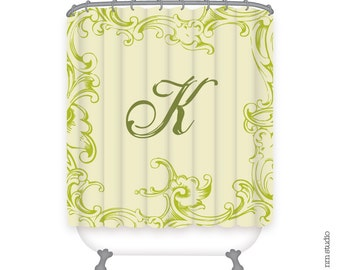 "69"" x 70"" Krieger Personalized Initial Shower Curtain - Qty 1"
