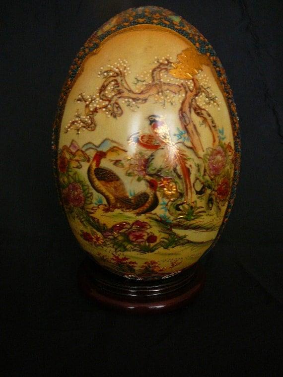 Vintage Royal Satsuma Gold Gilded Hand Painted Egg
