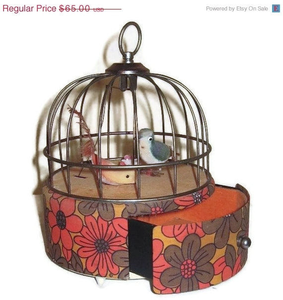 "50% OFF Vintage Automated Bird Cage Jewelry Music Box With A Swinging Bird  ""Doctor Zhivago's Lara's Theme"""
