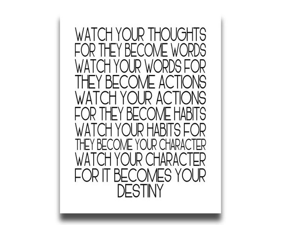 WORDS OF WISDOM Watch Your Thoughts Printable Print Inspirational Quote istant Digital Download 8x10 Files Home Decor Typography Modern