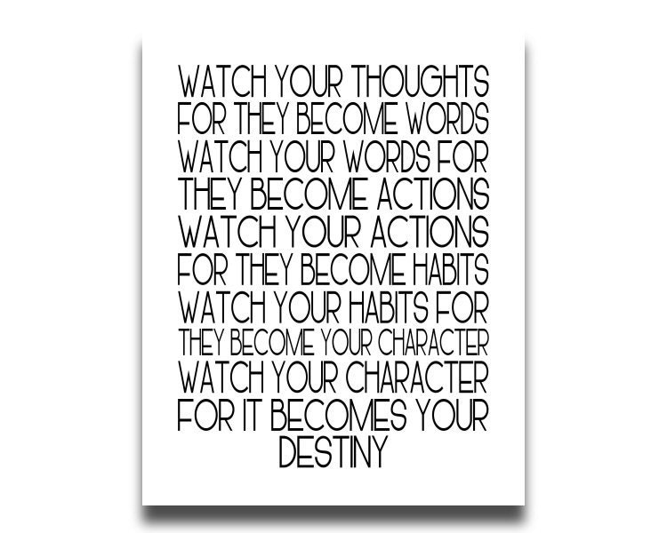 Watch Your Thoughts Printable Print Inspirational Quote Istant