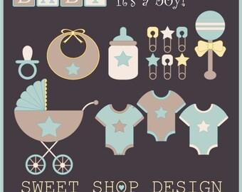 Baby Shower Clip Art, Baby Boy Clip Art, Royalty Free Clip Art, Instant Download