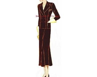 Plus Size (or any size) 1934 Vintage Suit Ensemble Sewing Pattern - PDF - Pattern No 74 Ola