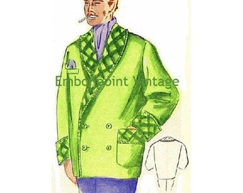 Plus Size (or any size) Vintage 1949 Mens Smoking Jacket Sewing Pattern - PDF - Pattern No 100 Rufus