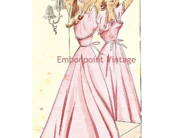 Plus Size (or any size) Vintage 1949 Nightgown - PDF - Pattern No 80 Florence