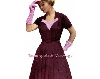 Vintage Sewing Pattern 1956 Dress PDF Plus Size (or any size)  - Pattern No 21 Jerri