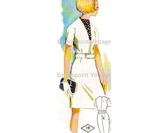 Plus Size (or any size) Vintage 1969 Womens Dress Pattern - PDF - Pattern No 19 Sheri