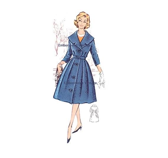 Plus Size (or any size) Vintage 1950s Coat / CoatDress Pattern - PDF - Pattern No 18: Brenda