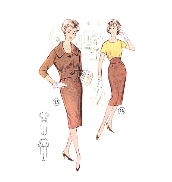Plus Size (or any size) Vintage 1950s Womens Suit Pattern - PDF - Pattern No 13/14: Sharon