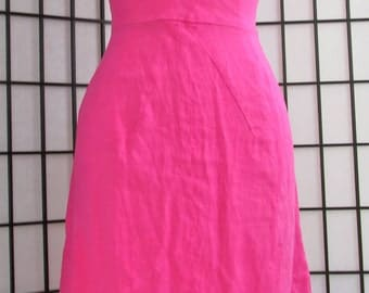 vintage 1950s deep rose pink linen Mad Men wiggle dress- medium