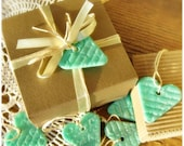 Valentine's Gift tags Mint Hearts Wedding Gift tags set of 6 decoration Wedding favors