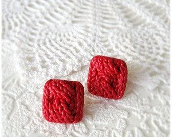 Stud Earrings imitation knitting Square Stud Earrings Polymer clay