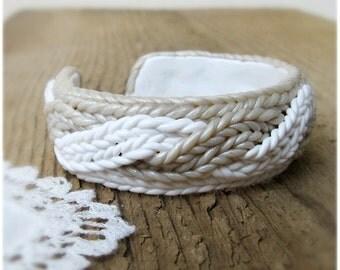 Bangle with imitating knitting, White silver Bracelet,  Winter Jewelry Polymer clay, Knitting Bracelet