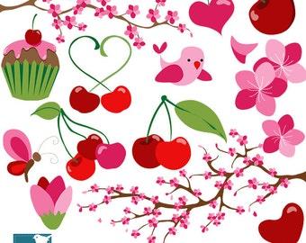 Cherry Blossoms Digital Clipart - Scrapbooking , card design, invitations, stickers, paper crafts, web design - INSTANT DOWNLOAD