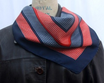 Red, White and Blue Square Scarf, geometric print, made in Italy, vintage 1960s-1970s