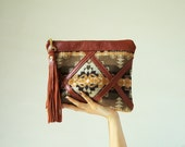 Leather and wool from Pendleton Oregon pouch/ clutch with tassel
