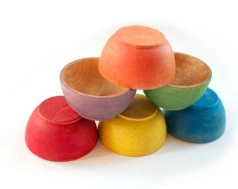Rainbow Stacking Bowls - Nesting Bowls - Montessori Wooden Toy - Waldorf Sorting Bowls - Natural Toy - Preschool