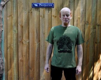 Tree tshirt.  Hemp tshirt. Fractal Tshirt. Men. Limited Edition. Sizes XS, XXL. Forest Green. Haeckl.